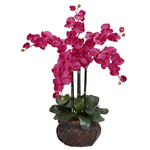 Nearly Natural 1211-BU Phalaenopsis with Decorative Vase Silk Flower Arrangement, Beauty