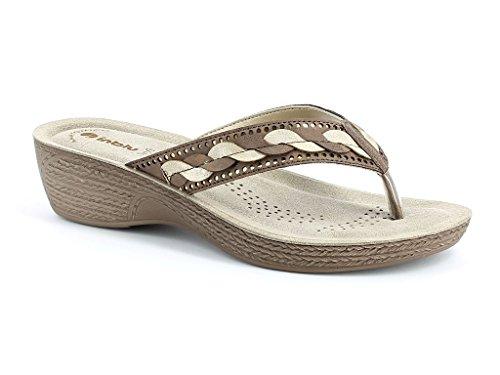 AARZ LONDON Frau Damen Diamant Jeden Tag Tragen Beiläufig Schlüpfen Komfort Super Leicht Sommer Sandalen Schuhe Größe Braun