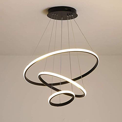 - LED Ceiling Pendant Light Modern 3 Ring Round Design Chandelier 69W Dimmable with Remote Control Hanging Lamp for Living Room Bedroom Kitchen Dining Room Table Bar Office Lighting 20+40+60CM, Black