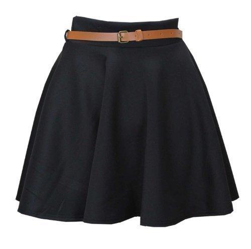 patineuse haute femmes Taille avec pliss ceinture lopard Noir jupe Mini imprim Baleza x1E4vqdw4