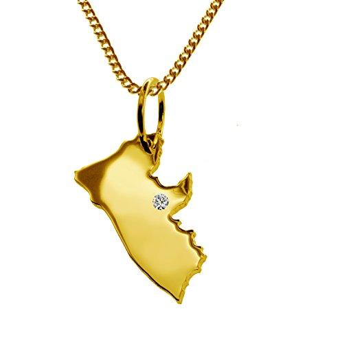 Endroit Exclusif Liberia Carte Pendentif avec brillant à votre Désir (Position au choix.)-avec Chaîne-massif Or jaune de 585or, artisanat Allemande-585de bijoux