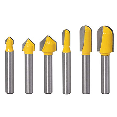 Yakamoz 6Pcs 1/4″ Shank Carbide 90 Degree V-Groove and Round Nose Groove Router Bit Set 3D CNC Signmaking Lettering Engraving Cutter Woodworking Carving Cutting Tool