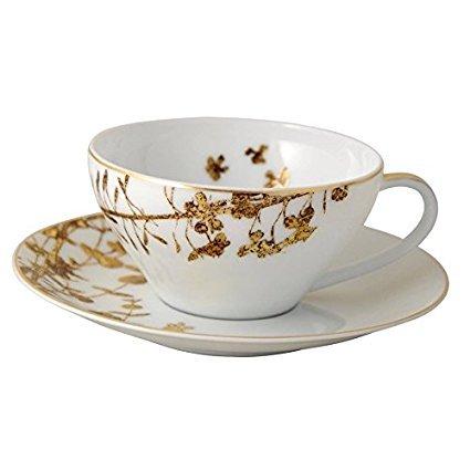 Bernardaud Vegetal Gold Teacup & Saucer Bernardaud Gifts