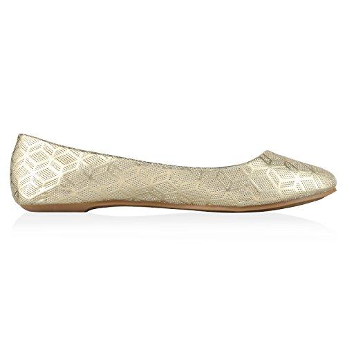 Japado Klassische Damen Ballerinas Flats Spitze Häkeloptik Leder-Optik Slippers Ballerina Schuhe Metallic Schleifen Pailletten Gold Muster