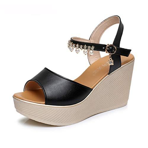 T-JULY Women's Sandals Woman Wedge Shoes Ankle Pearl Platform Peep-Toe Footwear Ladies Elegant Black/White Slingback Shoes ()