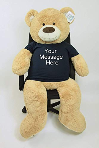 Big Plush 5ft Bear Dressed in Personalized Tshirt, Giant 5 Foot Teddy Bear Premium Soft, Customized with Your Message, Unique Impressive Gift for Birthday, Love or Any Event, Hand-Stuffed in The USA