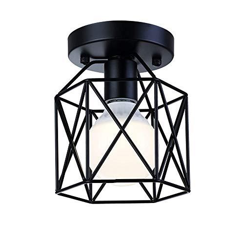 Cheap Small Rustic Flush Mount Ceiling Light,Metal Retro Industrial Flush Mount Ceiling Pendant Light Fixture for Hallway Kitchen Bedrooom,Black …