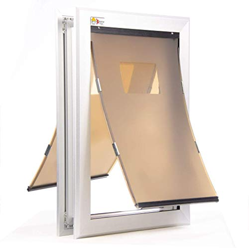 Small Dual Flap Heavy Duty Dog Doors for Exterior Doors - Solid Aluminum Frame with Magnetic Closure on Polyurethane Flap