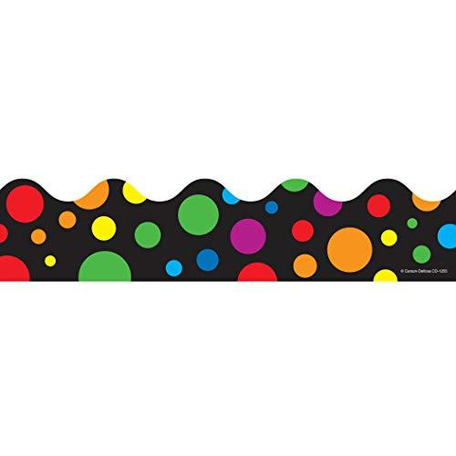 Carson-Dellosa CD-1255BN Big Rainbow Dots Scalloped Borders, 39' Per Pack, 6 Packs -
