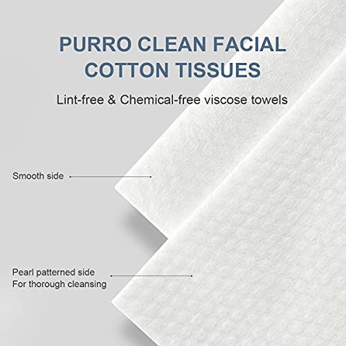 PURRO Pearl Patterned Soft Clean Towels, 100% Organic & Cruelty Free Unscented Wet & dry Dual Use Makeup Removing Wipes 80 Count Cotton Tissues for Sensitive Skin