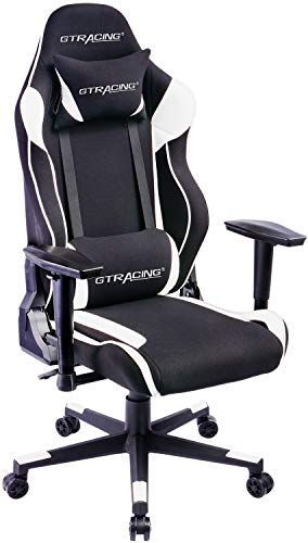 GTRACING Ergonomic Chair Racing Chair Backrest and Seat Height Adjustment with Pillows Recliner Swivel Rocker Tilt E-Sports Chair (101-Black)