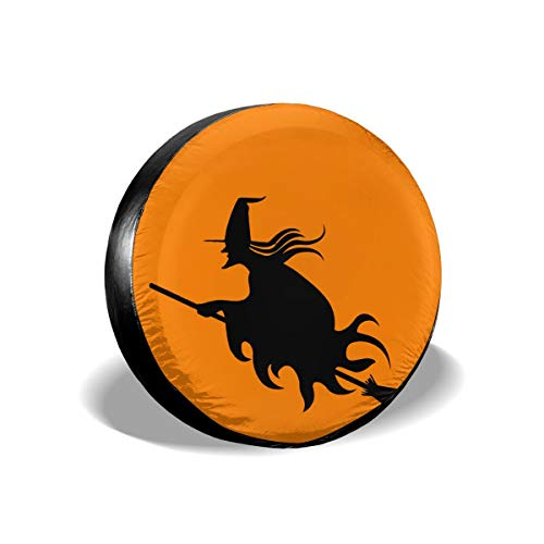 Halloween Witch Spare Wheel Tire Cover Polyester Universal Wheel Covers for Jeep Trailer RV SUV Truck Camper Travel Trailer Accessories
