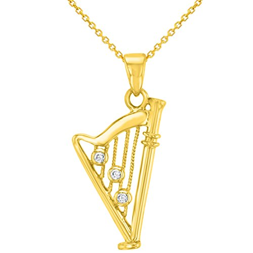 Solid 14K Yellow Gold CZ Harp Charm Musical Instrument Pendant Necklace, 18