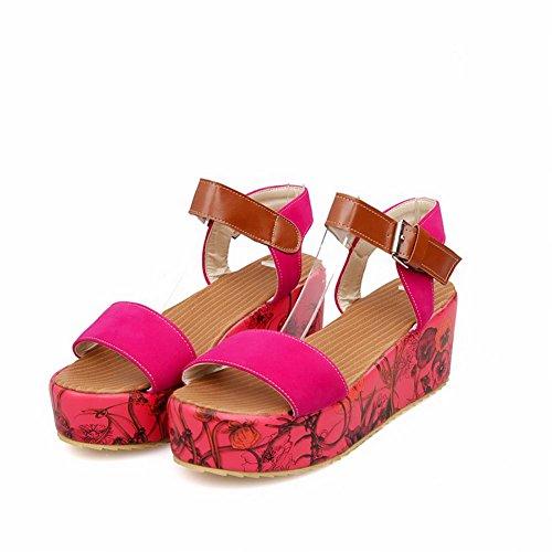 Carol Schoenen Chique Vrouwen Gesp Open Teen Bloemmotief Geassorteerde Kleuren Platform Sandalen Rose Rood