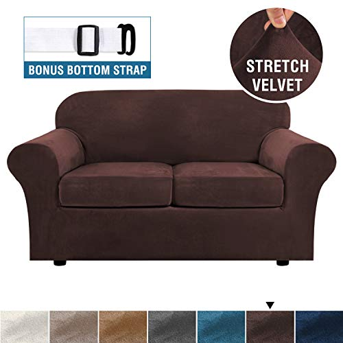 Real Velvet Plush 3 Piece Stretch Sofa Cover Velvet-Sofa Slipcover Loveseat Cover Furniture Protector Couch Soft Loveseat Slipcover for 2 Cushion Couch with Elastic Bottom(Loveseat,Brown)
