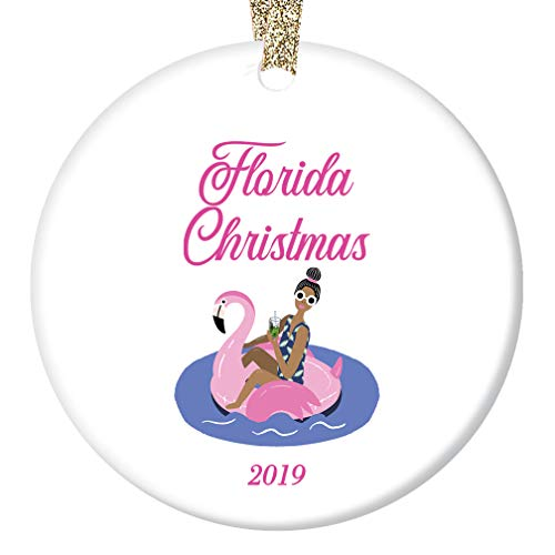 Florida Christmas 2019 Tree Ornament Pink Flamingo Beach Poolside Easy Living Lifestyle Ceramic Keepsake Present for Family & Friends 3