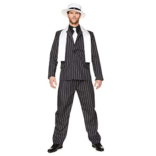Men's Gangster Boss Halloween Costume, Pinstripe Suit, Mobster Criminal, L