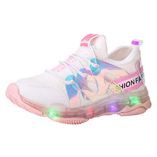 Haalife◕‿ Baby Boys Girls LED Light Up Sneakers, Non Slip Athletic Sneaker Lightweight Breathable Mesh lace up Shoes Pink
