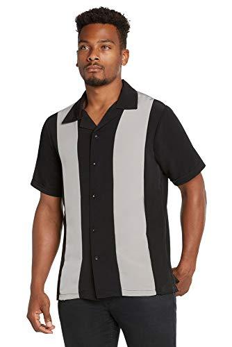 9 Crowns Men's Retro Bowling Bahama Camp Button-Down Shirt-Black/LtGrey-Large