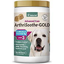 NaturVet - ArthriSoothe-Gold - Level 3 Advanced Joint Care - Supports Connective Tissue, Cartilage Health & Joint Movement - Glucosamine, MSM, Chondroitin & Green Lipped Mussel - 180 Soft Chews