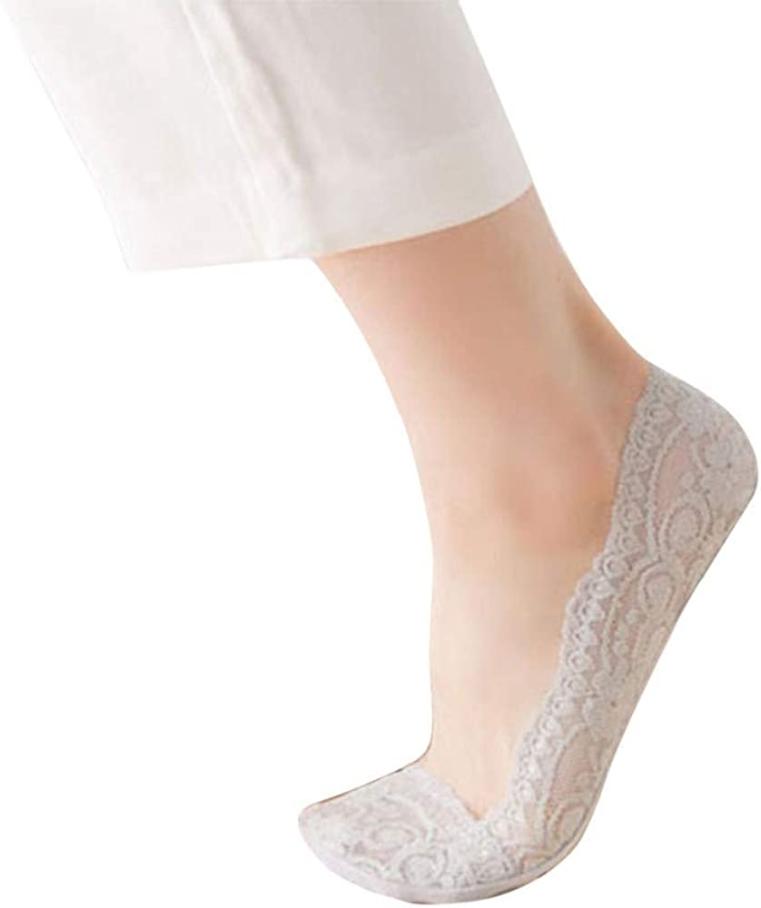 Lace Thin Low Cut No Show Hidden Non Slip Invisible Liner Boat Socks for Women with Grip (Gray ,  One size fit all)