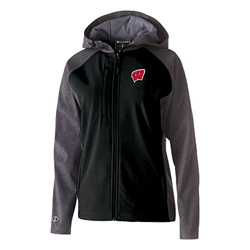 Ouray Sportswear NCAA Wisconsin Badgers Women's Raider Soft Shell Jacket, X-Large, Carbon Print/Black by Ouray Sportswear