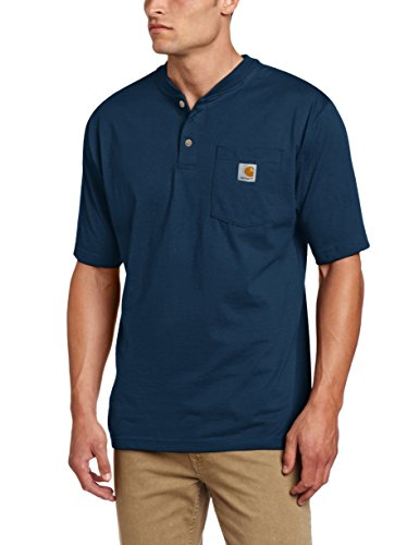 Heart Logo Tee - Carhartt Men's Workwear Pocket Henley Shirt, Navy, Medium
