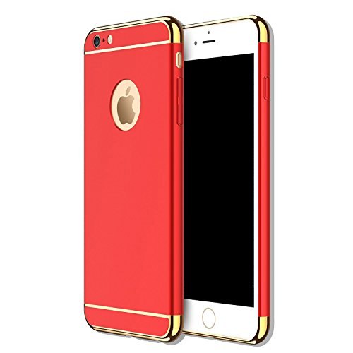 Costumes Iphone (iPhone 5 5S SE 3 in 1 Hard Case, Anyos Electroplate Ultra-thin Shockproof Protective PC Cover for iPhone 5 5S SE 4.0 inch (Red))