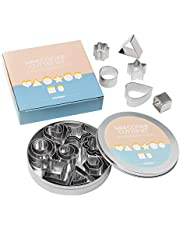 Chrider Mini Metal Cookie Cutters Set, Geometric Shapes Cookie Biscuit Cutter Set, Star Flower Hexagon Round Heart Square Triangle Oval Stainless Steel Cutter for Baking (24 Pcs Small Cookie Cutters)