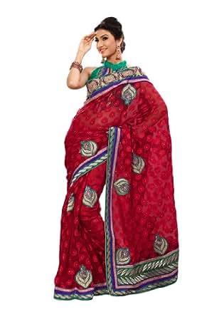 Fabdeal Women Indian Designer Embroidery Saree Dark Red