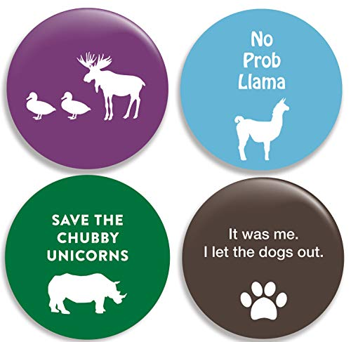 Funny Animal Pinback Buttons/Pins (2.25 inches) Set of 4