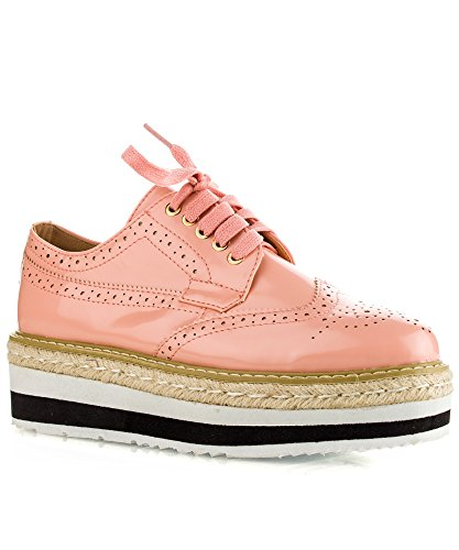 01 up Wingtip Lace Sole OF ROOM FASHION Platform Flats Flatform Shoes Loafers RF Pink Oxford Lugged Buzz 1qw7SnfI