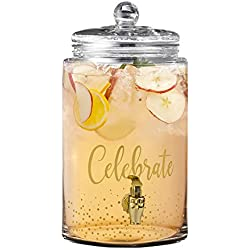 Fifth Avenue Crystal Beverage Drink Dispenser Glass with Handle, Clear, 2 Gallons