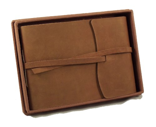 Rustic Genuine Leather Photo Album with Gift Box - Scrapbook Style Pages - Holds 60 4x6 or 5x7 ()