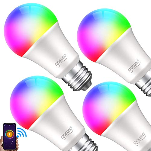 WiFi Smart Light Bulb works with Alexa Google Home & IFTTT, Gosund A19 E26 LED Smart Bulb 2700K 800LM RGB Color Changing Dimmable, No Hub Required, Soft White (4 Pack)