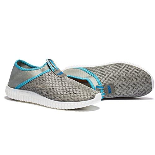 Fengda Uomo E Donna Outdoor Leggero Traspirante Mesh Beach Aqua Loafer Casual Scarpe Da Passeggio Grigio-blu