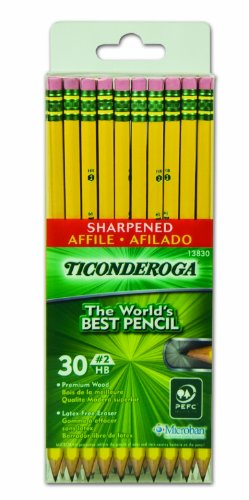 Dixon Ticonderoga Woodcase Pencils with Erasers, 2HB, SIX Presharpened Boxes of 30, 180 Pencils Total (13830SP) for $<!--$35.82-->