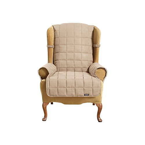 (SureFit Soft Suede Waterproof - Wing Chair Slipcover  - Taupe (SF40906))