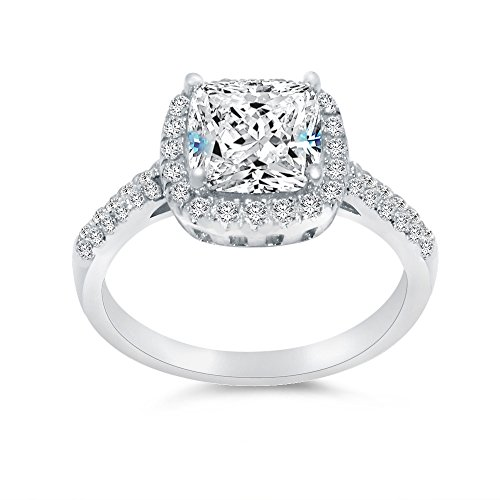 (Sterling Silver Cushion Engagement Ring CZ Halo Round Sidestones Accents 2.50cttw, 2.0ct Center)