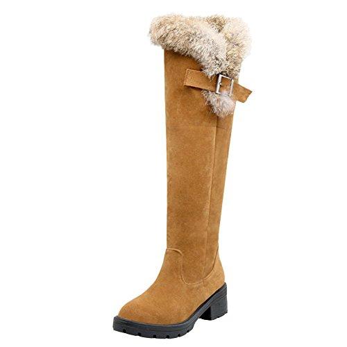 Mee Shoes Damen chunky heels Nubukleder runde langschaft Stiefel Gelb