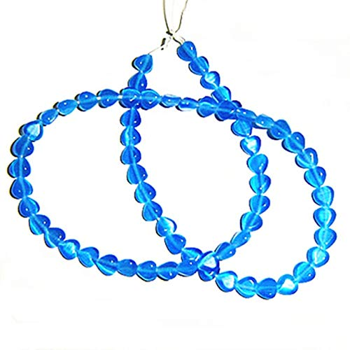 Calvas 6mm Puff Cats Eye Heart Beads Aqua/Black/Blue/Brown,1.0mm Holes,66 Pieces per Strand for Your Jewelry Project - (Color: Blue) (Aqua Blue Cats Eye Beads)