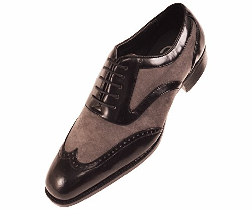 Sio Formal Tuxedo Oxford Mens Dress Shoe, Two-Tone Smooth Suede Wingtip Lace-Up Grey