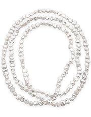 Secret & You Collar de Perlas de Mujer Cultivadas de Agua Dulce Barrocas Keshi de 120 cm de Largo Perlas Barrocas Keshi de 7-9 y 8-10 mm con Nudo Cada 4 Perlas.