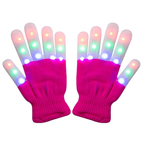 Amazer Kids Light Gloves Children Finger Light Flashing LED Warm Gloves with Lights for Birthday Light Party Christmas Xmas Dance Thanksgiving Day Gifts for More Fun- Magenta