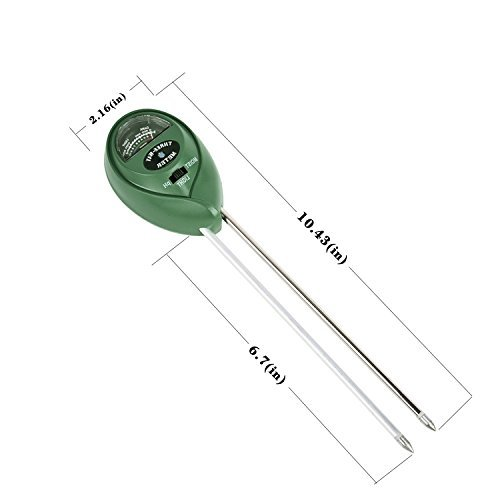 3-in-1 Soil Moisture Meter, Light and PH acidity Tester, Plant Tester, Great For Garden, Farm, Lawn, Indoor & Outdoor (No Battery needed) Easy Read Indicator
