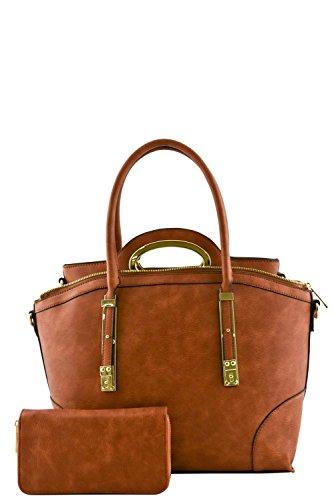 womens-designer-faux-leather-stylish-3-in-1-metal-trim-handbag-set-va2008-brown
