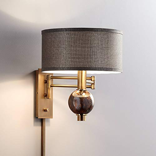 - Richford Brass Plug-in Swing Arm Wall Lamp with Dimmer - 360 Lighting