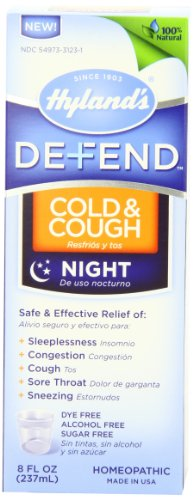 Hyland's Defend Cold & Cough Night Time Relief Liquid, Natural Alcohol-Free Formula, 8 Ounce