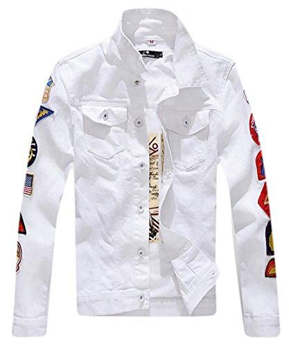 Navy Seal Embroidered Sweatshirt (Beloved Men's Fashion Seal Sleeve Solid Color Washing Denim Jacket White M)