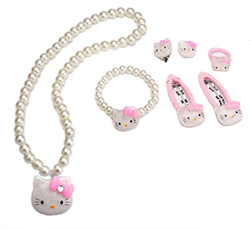Adorable Kitty Faux Pearl Girl Jewelry 7-piece Set (Ivory) - Baby Faux Earrings